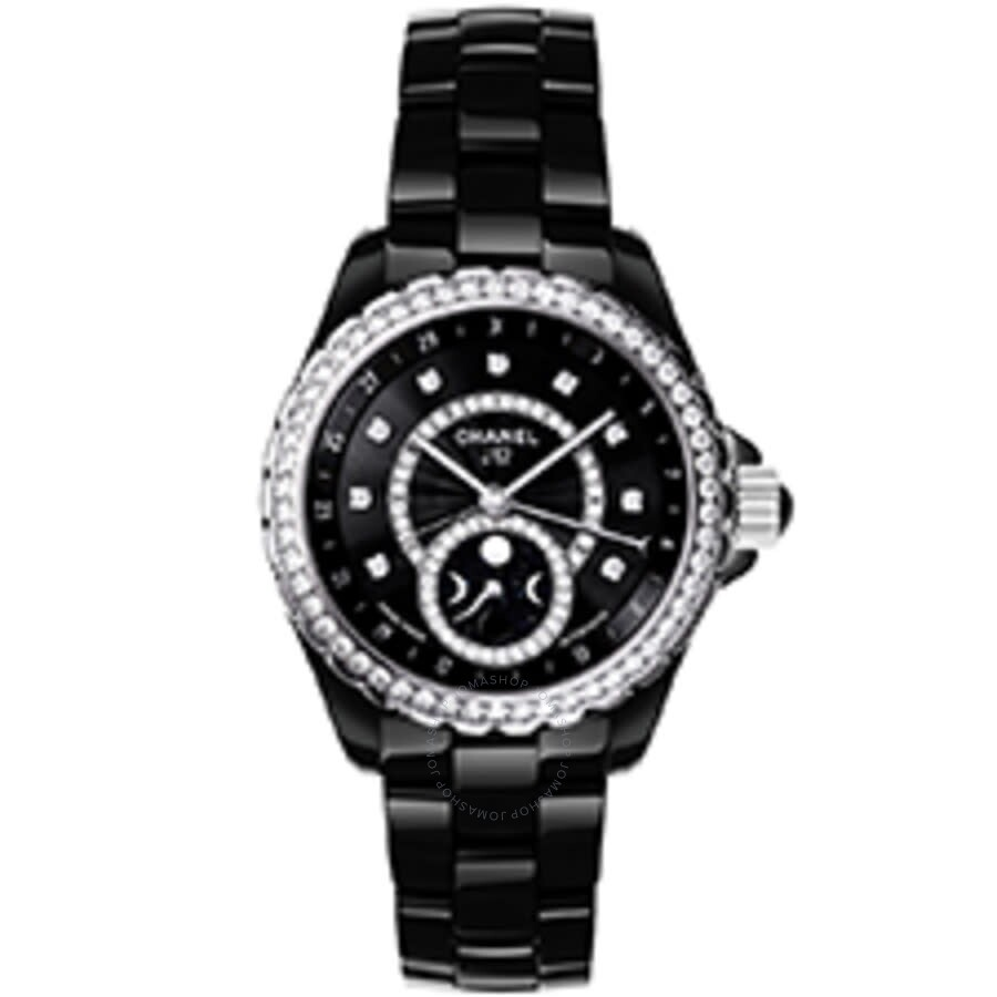 Chanel J12 Black Dial Diamond Black Ceramic Automatic Ladies Watch H3407
