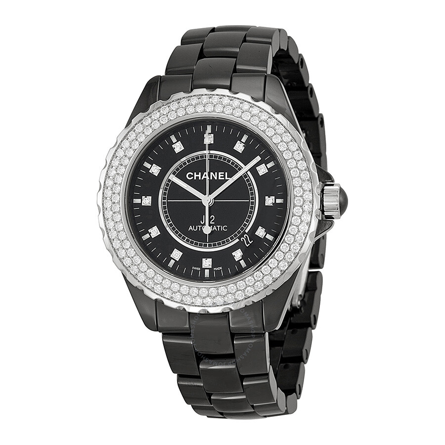 Chanel j12 black diamond dial and bezel unisex watch h2014 j12 chanel watches jomashop for Diamond dial watch