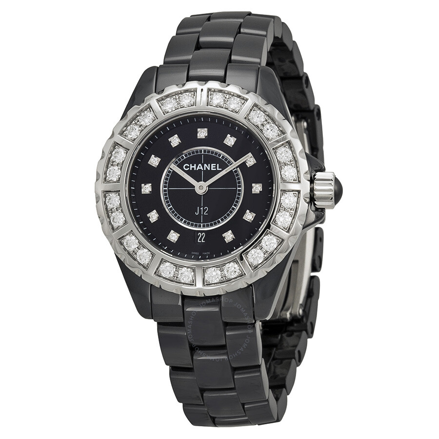 Chanel j12 black diamond dial quartz ladies watch h2427 j12 chanel watches jomashop for Diamond dial watch