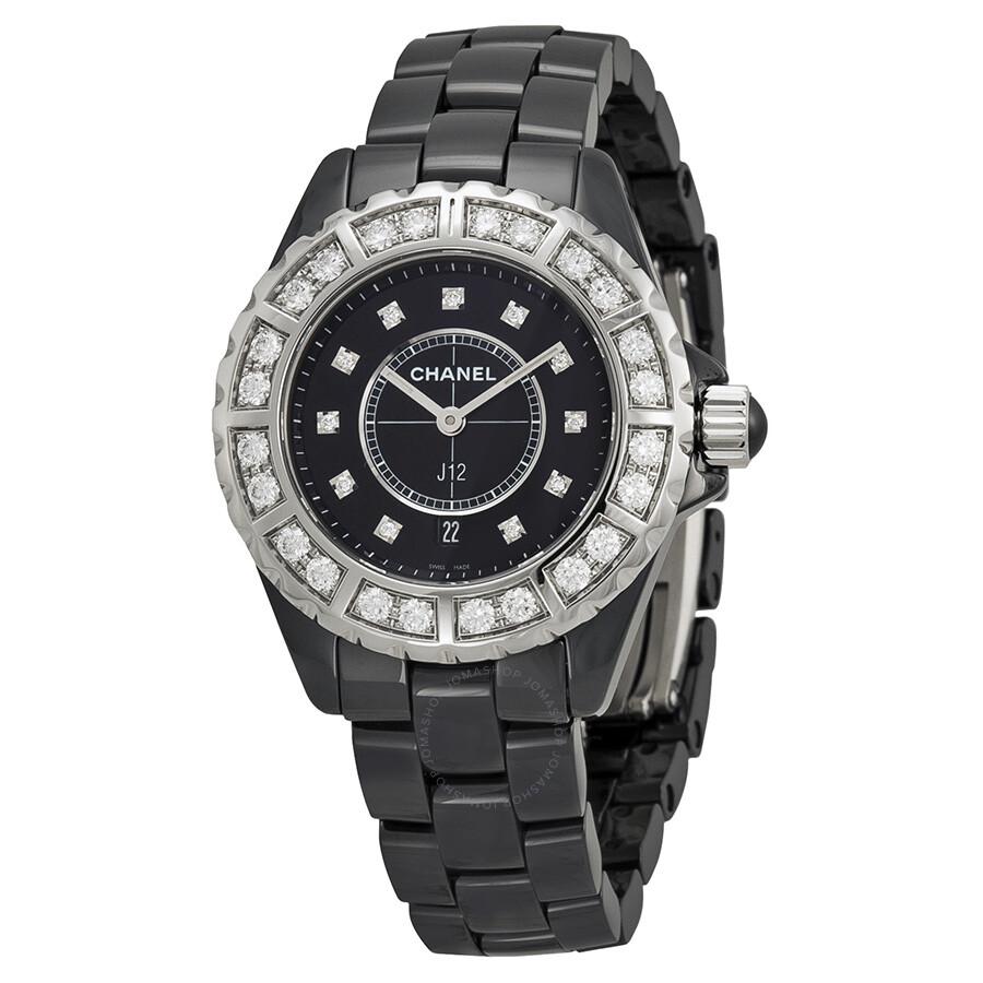 ca688a12551 Chanel J12 Black Diamond Dial Quartz Ladies Watch H2427 - J12 ...