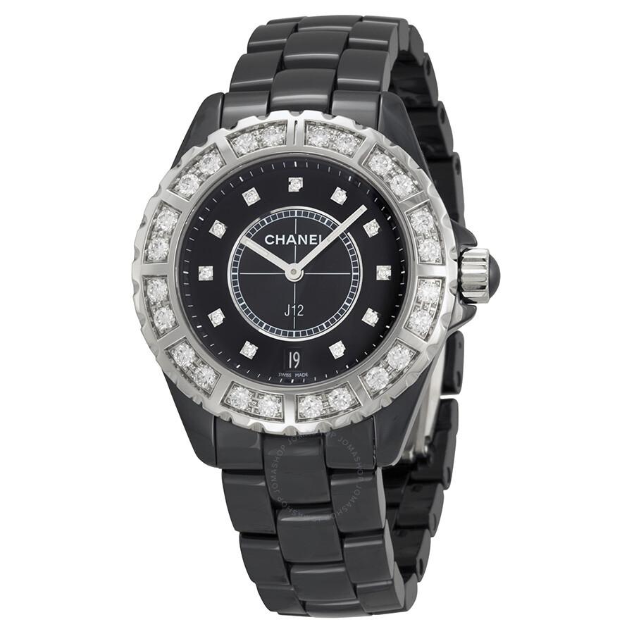 Chanel J12 Diamond Dial Black Ceramic Quartz Unisex Watch H2428