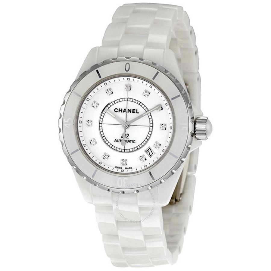5079a9cbdd2b Chanel J12 Diamond White Ceramic Midsize Unisex Watch H1629 - J12 ...