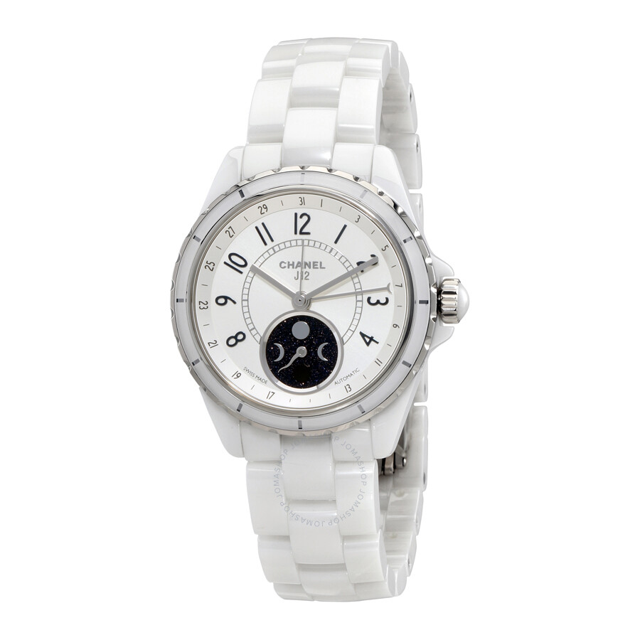 6ad9be4acb43 Chanel J12 Moon Phase Mother of Pearl Dial White Ceramic Ladies Watch H3404  ...