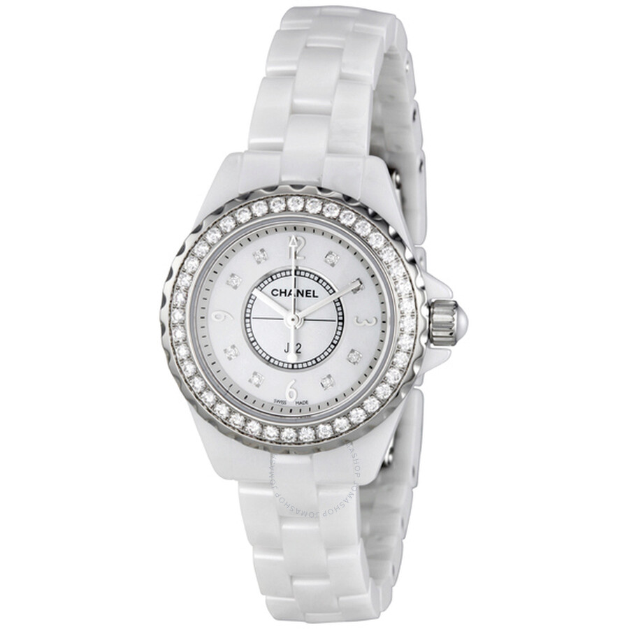 Chanel j12 mother of pearl white ceramic ladies watch h2572 j12 chanel watches jomashop for Pearl watches