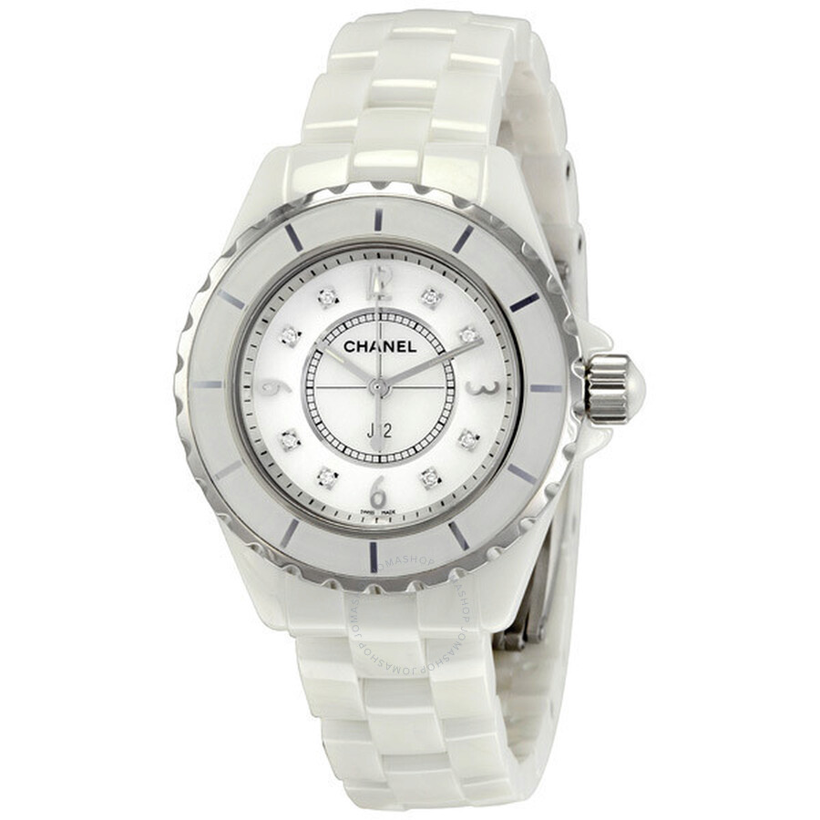 Chanel J12 White Ceramic Diamonds Quartz Ladies Watch H2422 - J12 ... b297c0e26aaf