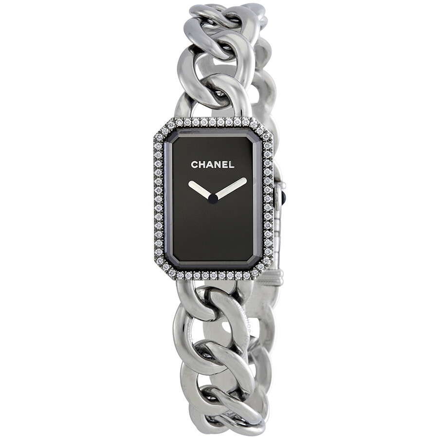 9e4a306e15b4 Chanel Premiere Black Dial Stainless Steel Diamond Ladies Watch H3254 ...
