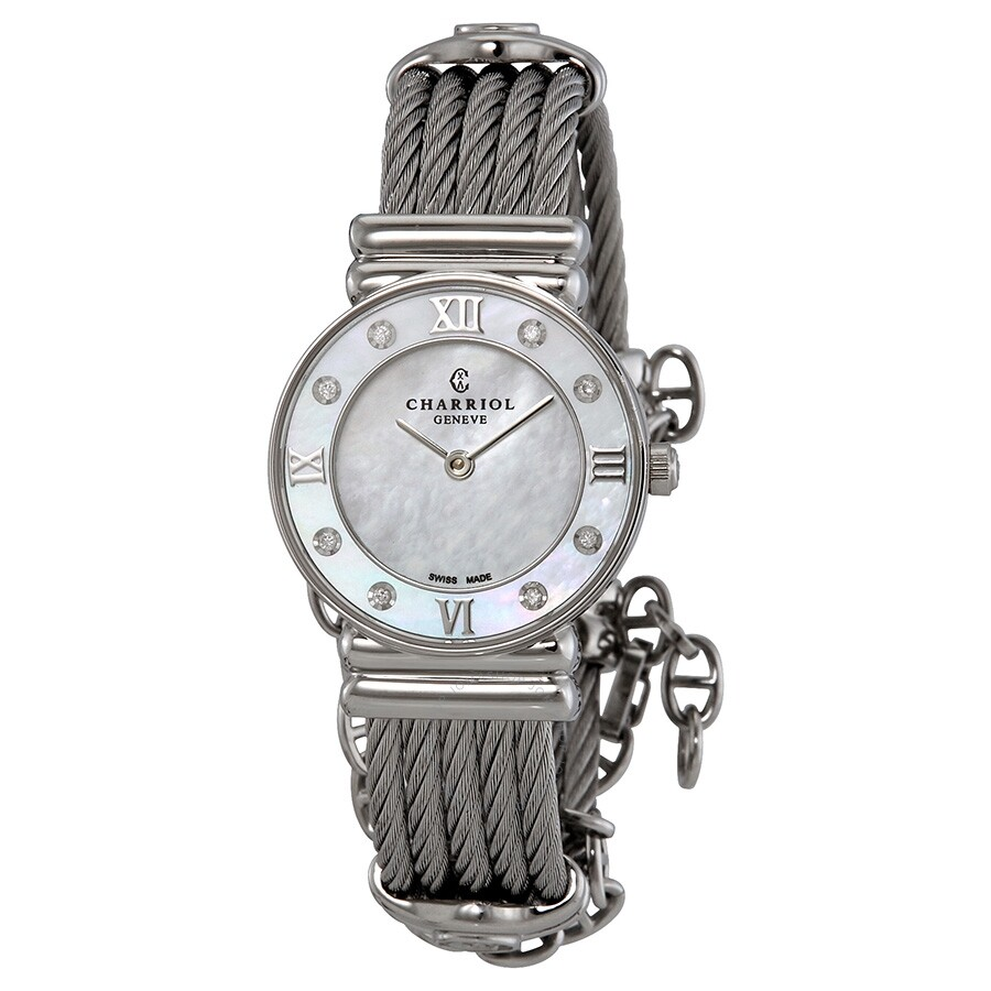 0596dc9dac6 Charriol St Tropez Mother of Pearl Dial Diamond Ladies Watch 028SD1540552  ...