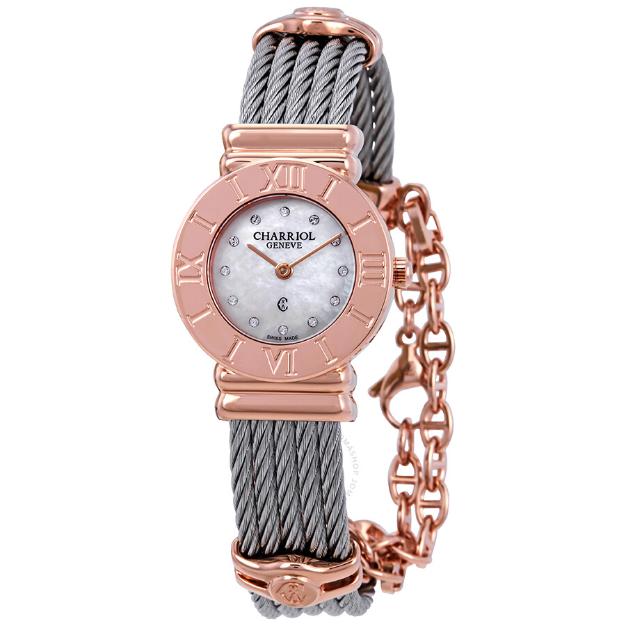 a6aefabb445 Charriol St Tropez Mother of Pearl Diamond Dial Two Tone Ladies Watch  028RP540326 ...
