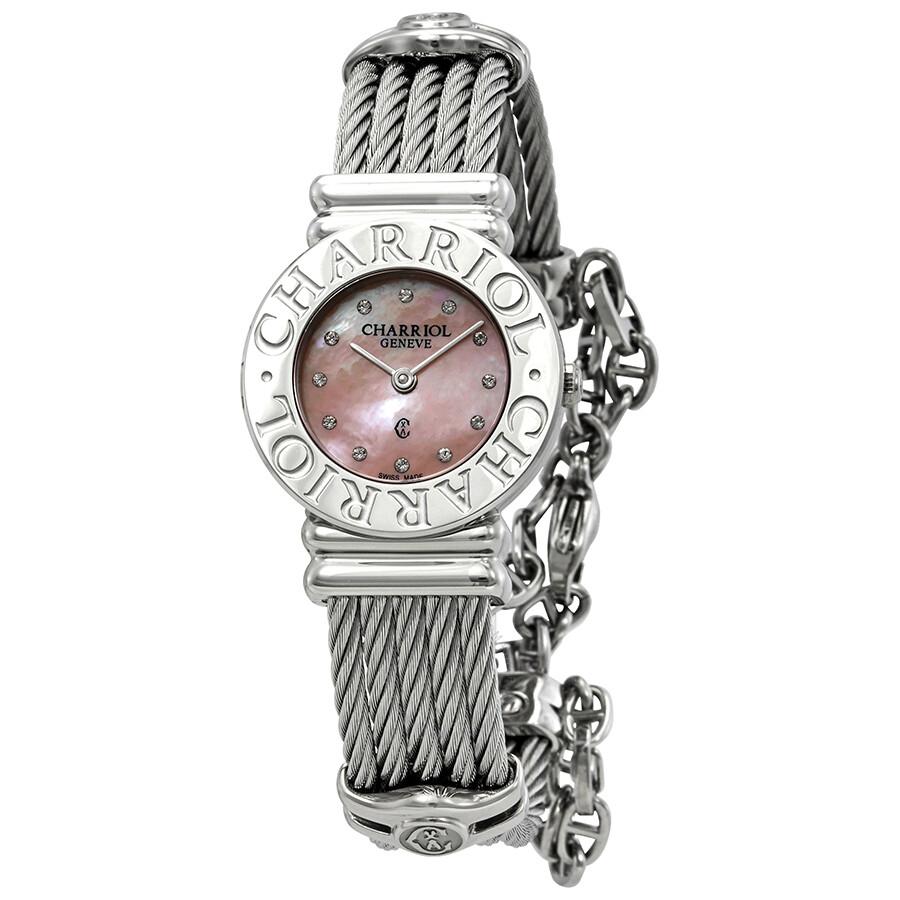 e4cc9554584 Charriol St. Tropez Diamond Ladies Pink Mother of Pearl Watch 028CC.540.462  ...