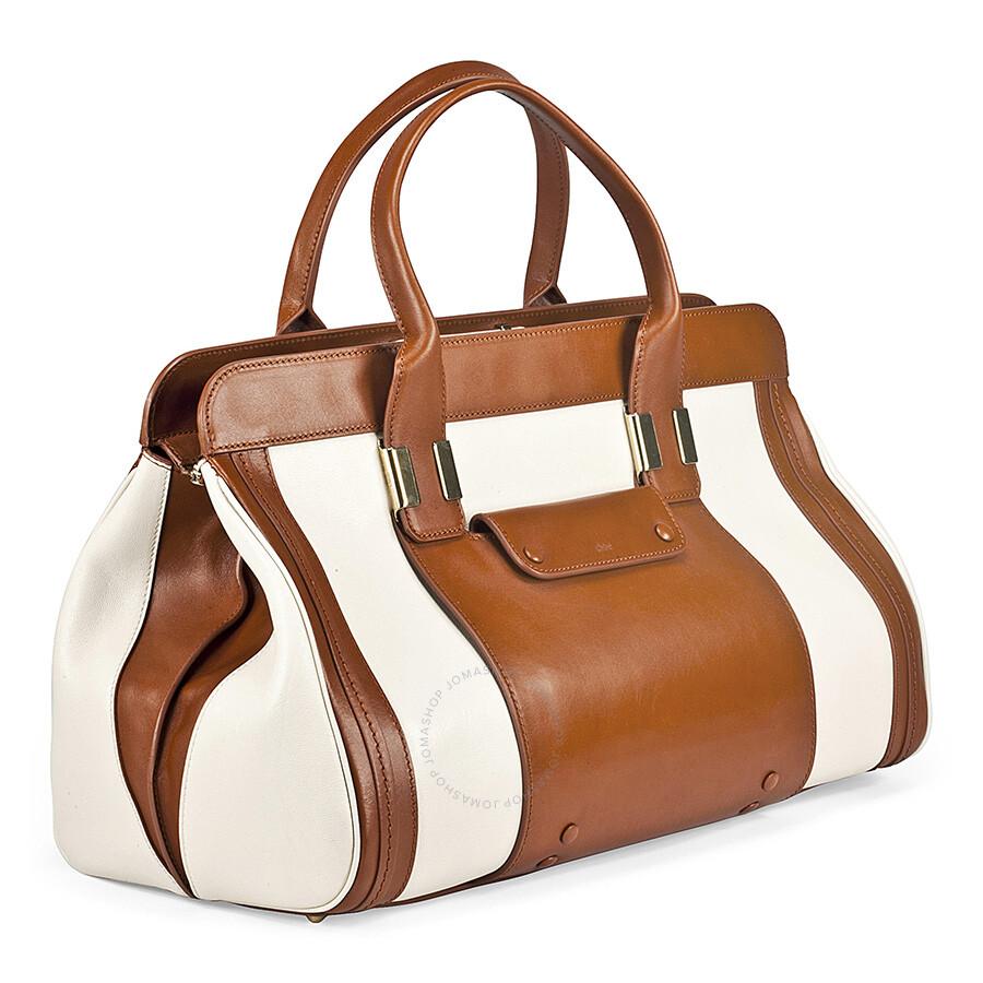 a7b0b36e54 Chloe Alice Medium Satchel Handbag In White and Tan
