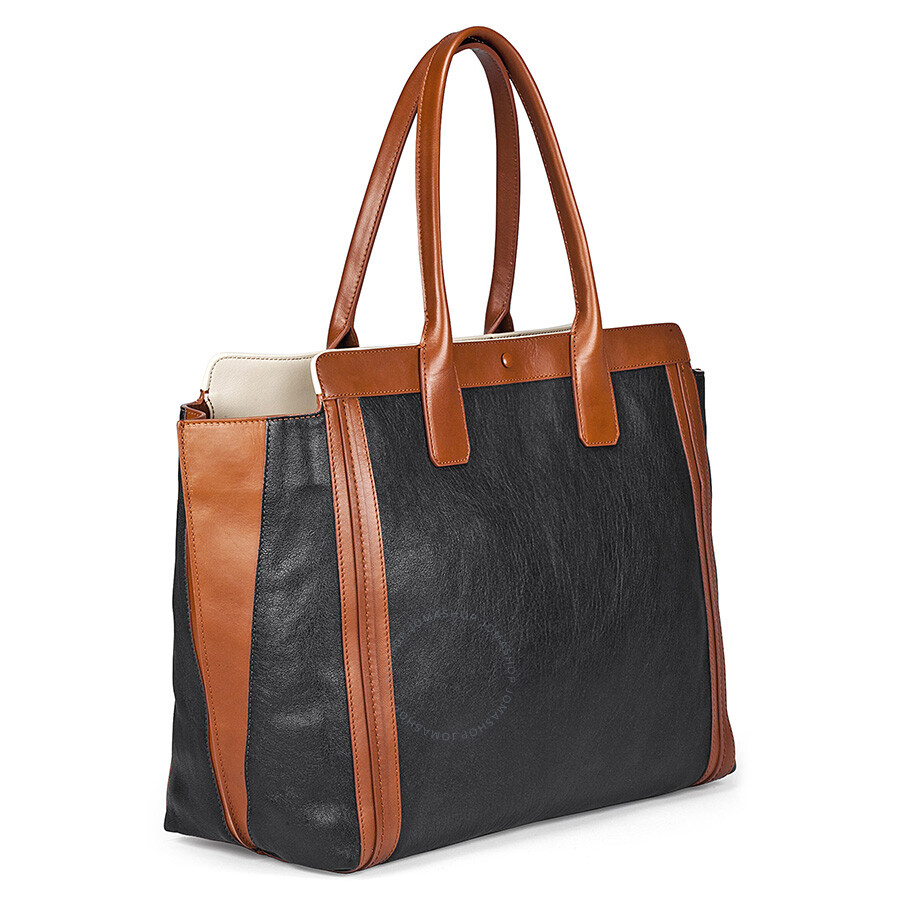 Chloe Alison Medium Shopper Tote Leather Handbag - Black and Tan ...
