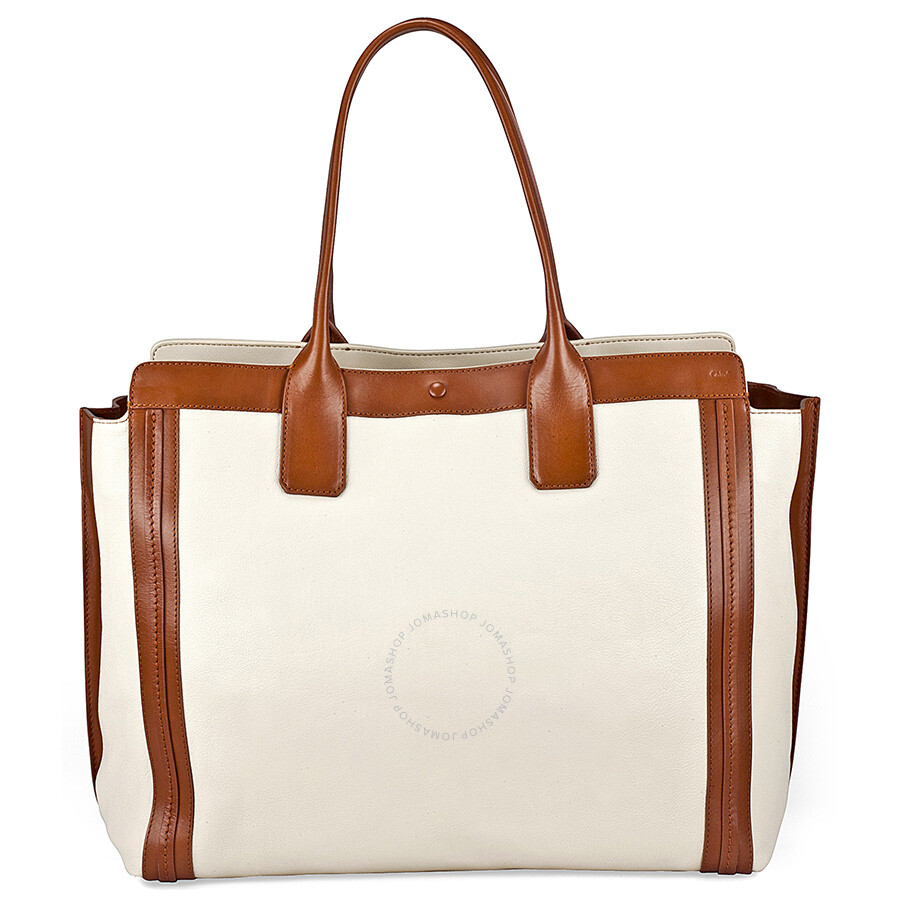 Chloe Alison Medium Per Tote Leather Handbag White And Tan