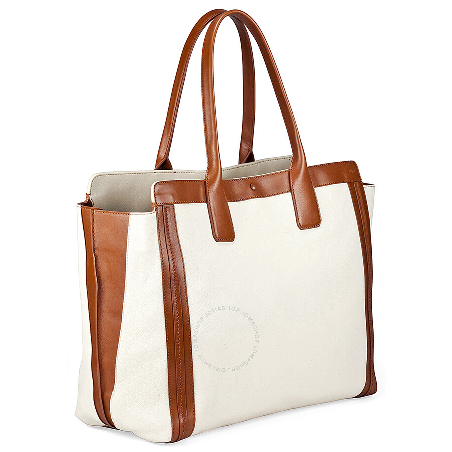 177fa4272d Chloe Alison Medium Shopper Tote Leather Handbag - White and Tan