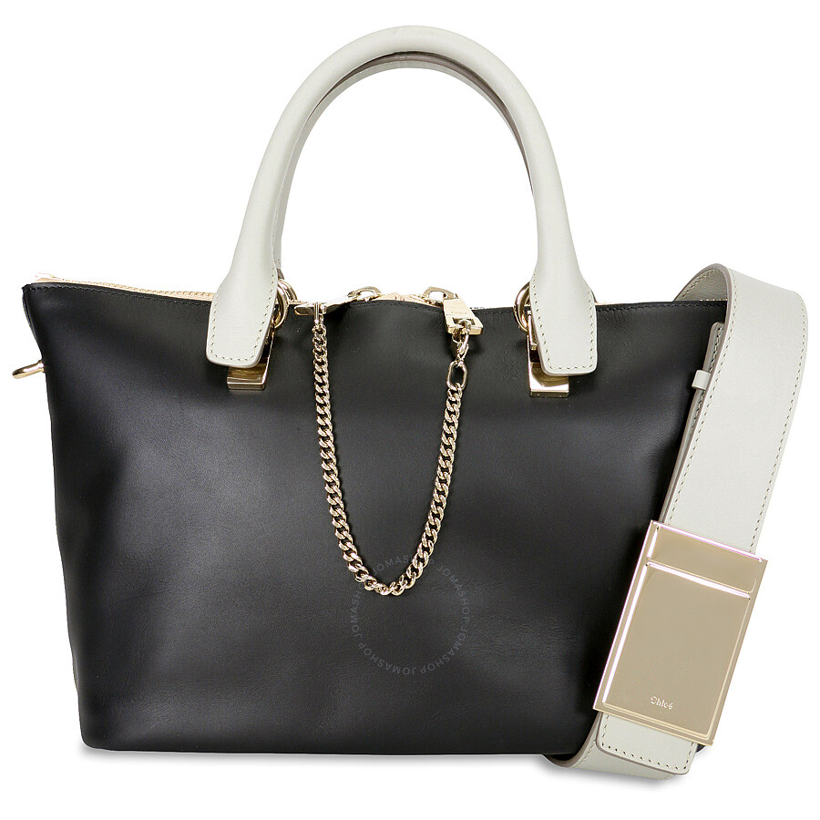 chloe purses prices - Chloe Baylee Small Leather Tote - Black and Grey - Chlo�� ...