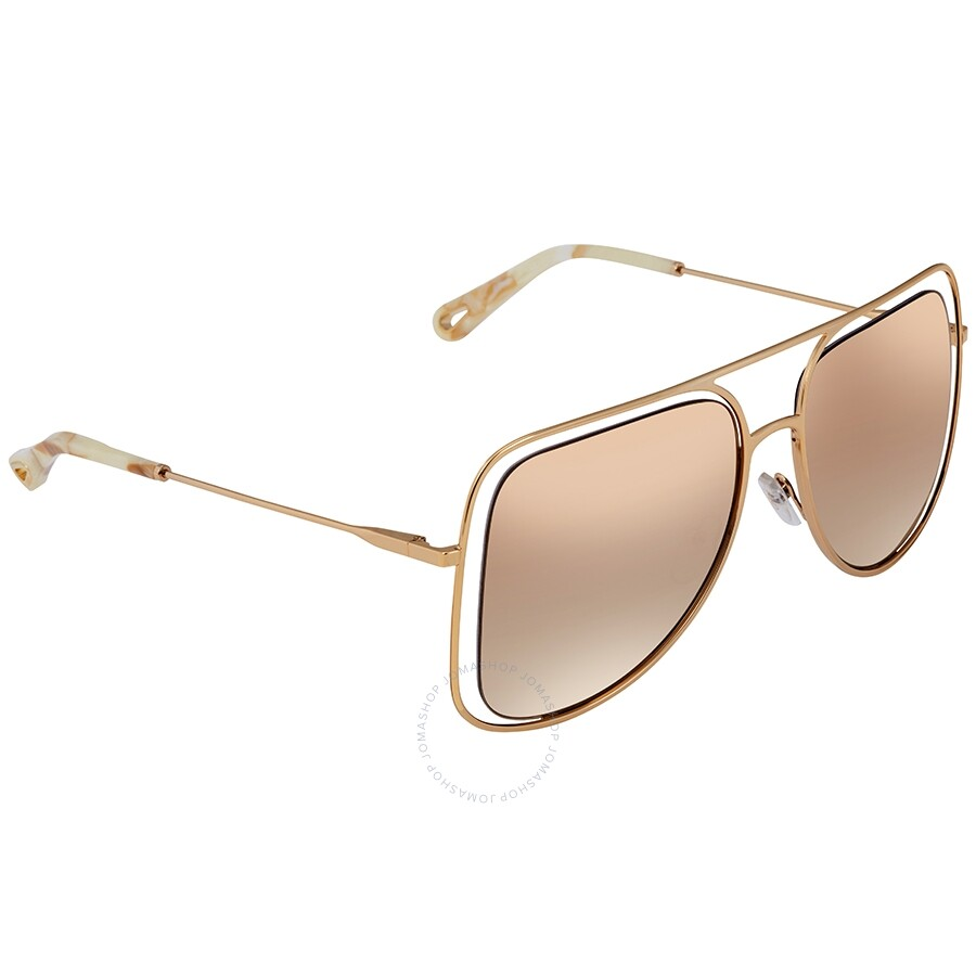 ba40947b Chloe Brown Gradient with Gold Mirror Square Ladies Sunglasses CE130S74357