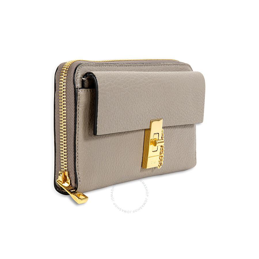chloe drew grey. chloe drew long zipped wallet - motty grey o
