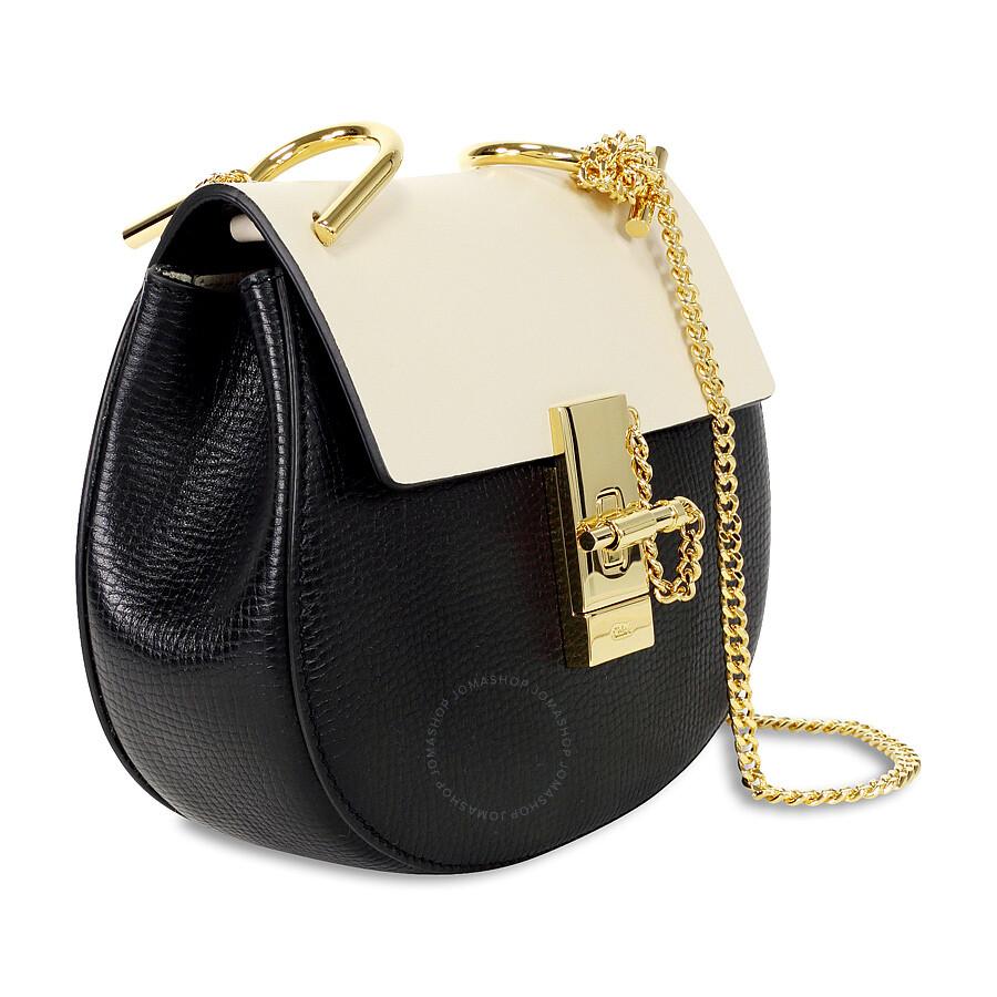 Chloe Mini Drew Calfskin Leather Shoulder Bag Black Cream