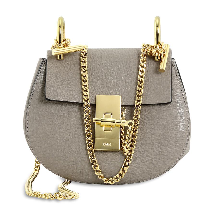 7c85c3958b Chloe Drew Nano Leather Crossbody Bag - Motty Grey