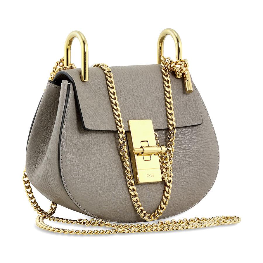 Chloe Drew Nano Leather Crossbody Bag - Motty Grey - Jomashop