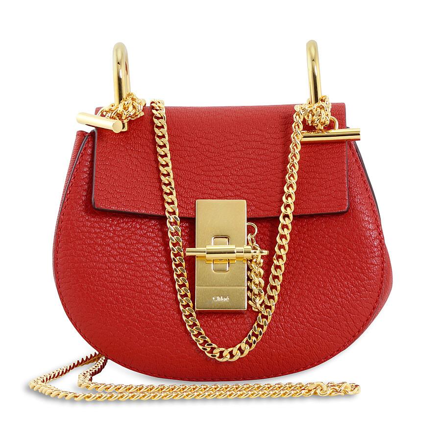 8cbdae4502 Chloe Drew Nano Leather Crossbody Bag - Plaid Red