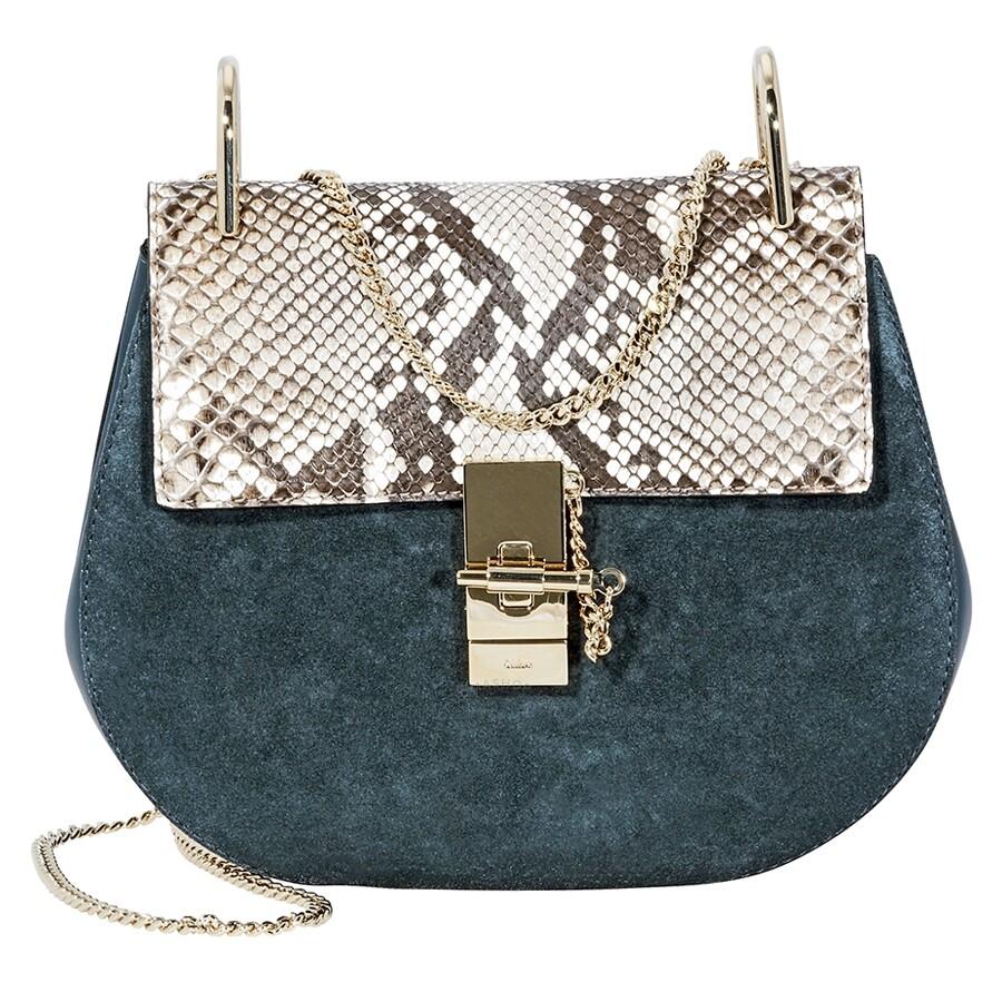 Chloe Drew Python Print Shoulder Bag- Silver Blue - Drew - Chloé ... 4b0f4f9cda94
