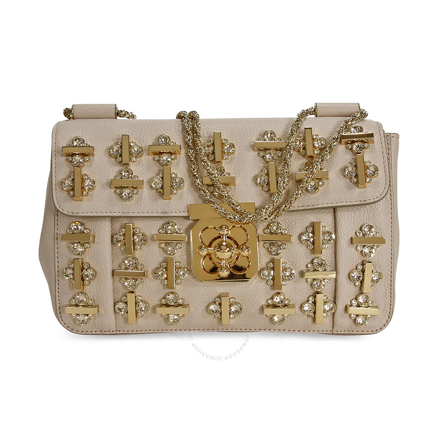 dd705de7b3e6 Chloe Elsie Crystal Embellished Leather Shoulder Bag - Angora Beige ...
