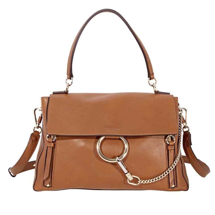 Chloe Faye Leather Shoulder Bag Brown