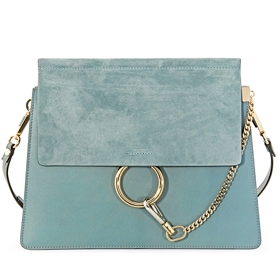 54d15ed6ea3b Chloe Faye Medium Calfskin and Suede Shoulder Bag - Cloudy Blue ...