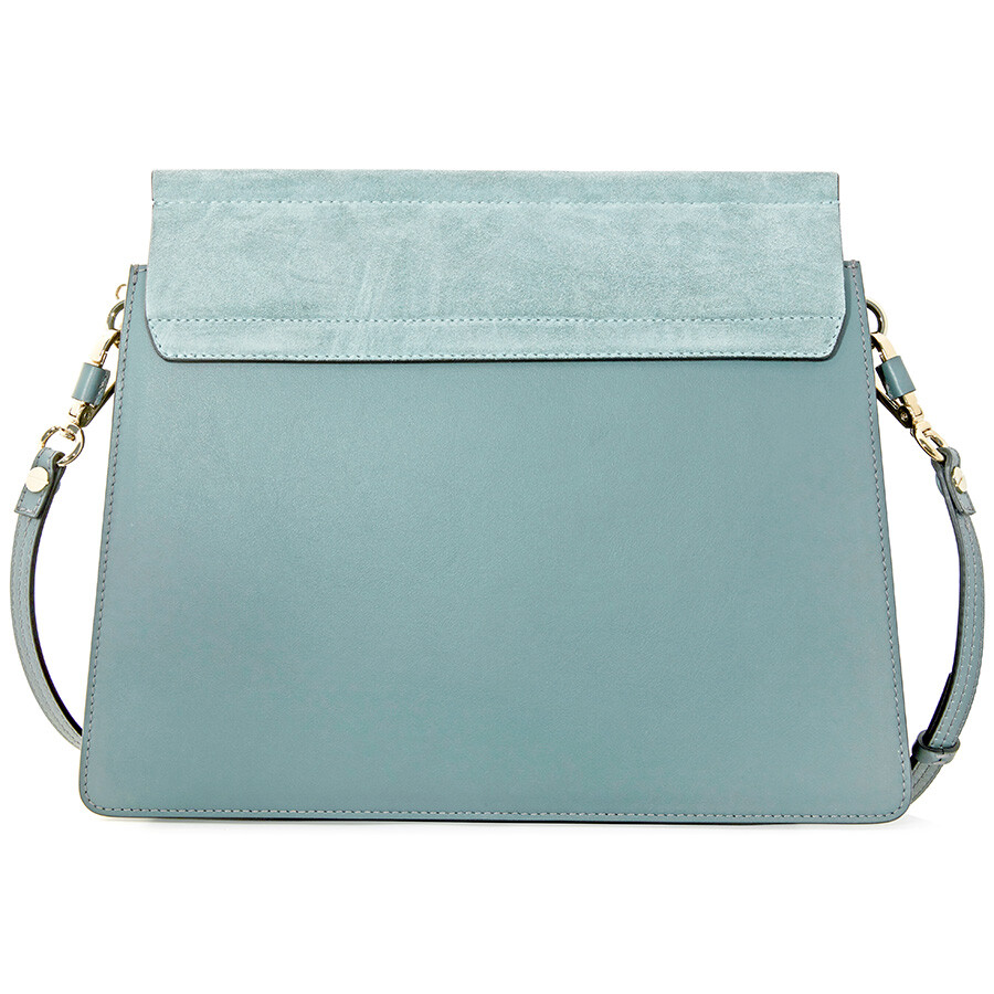 1c647507da56 Chloe Faye Medium Calfskin and Suede Shoulder Bag - Cloudy Blue Item No.  C17SS231H2O-41H