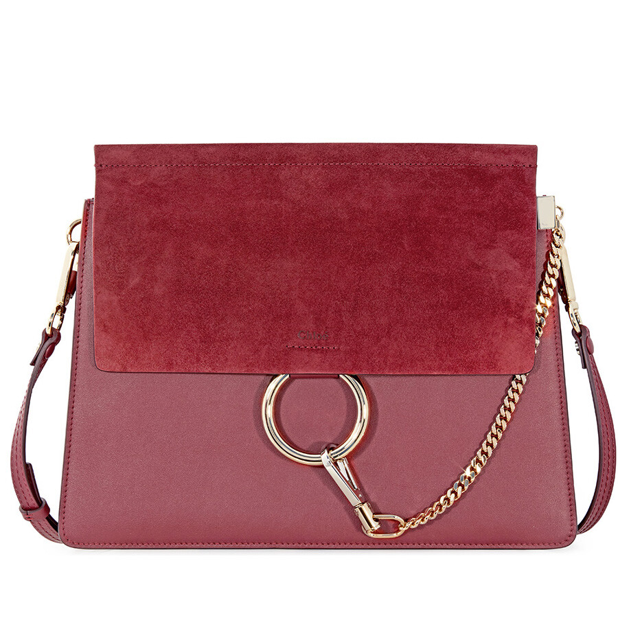 7d96b18a57 Chloe Faye Medium Calfskin and Suede Shoulder Bag - Plum Purple