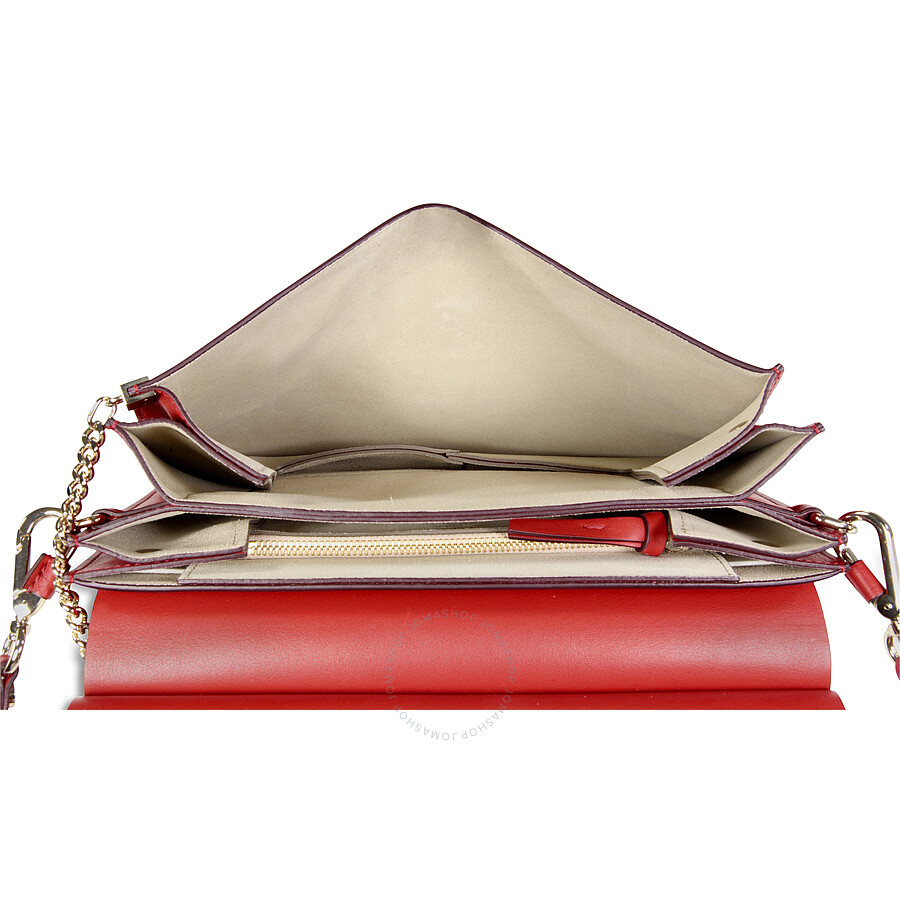 how to spot a fake chloe bag - Chloe Faye Medium Leather Clutch - Dusky Red - Jomashop