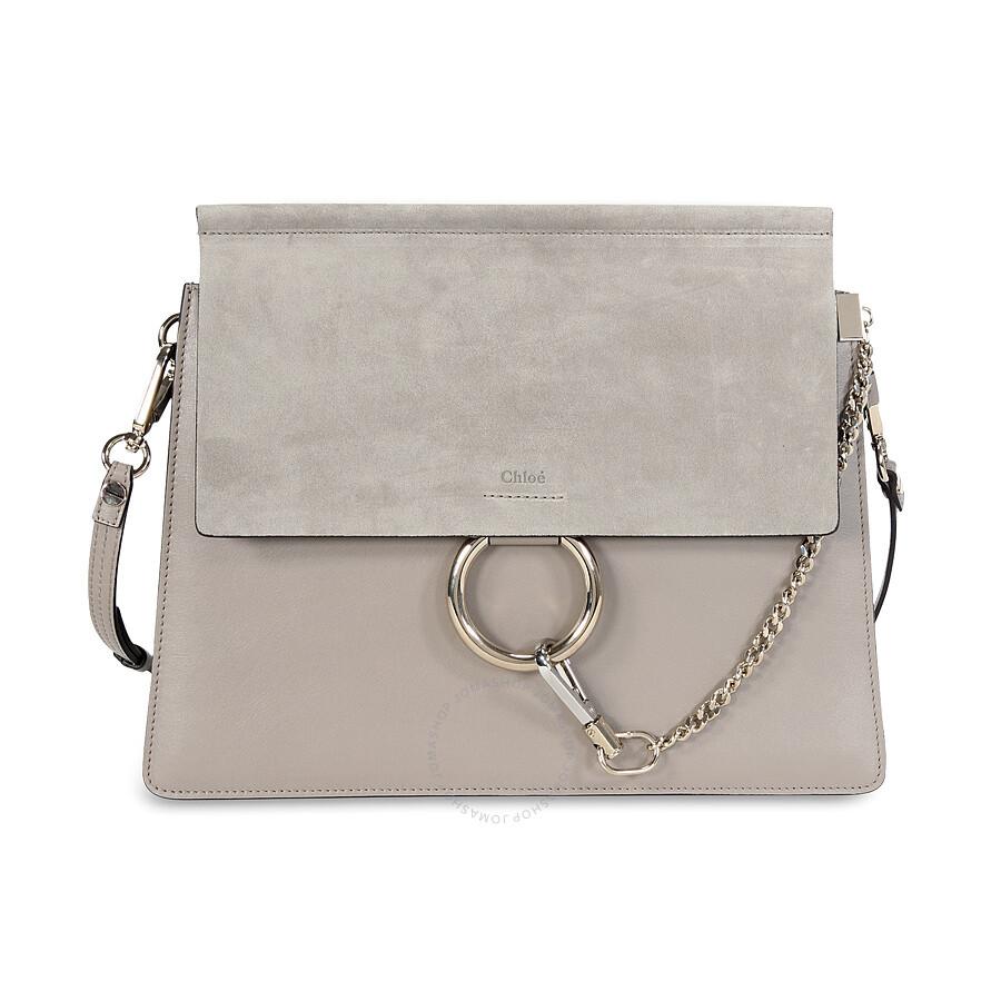 6cabe3d4fe Chloe Faye Medium Leather Clutch - Motty Grey