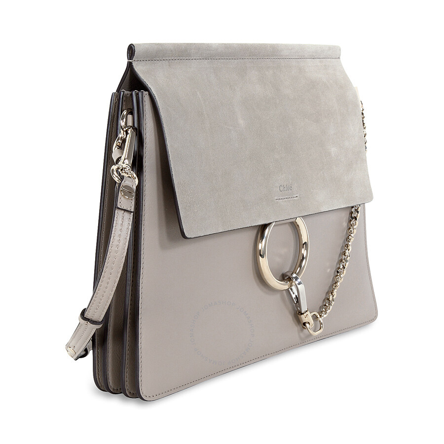 b676f1597830b Chloe Faye Medium Leather Clutch - Motty Grey - Faye - Chloé ...
