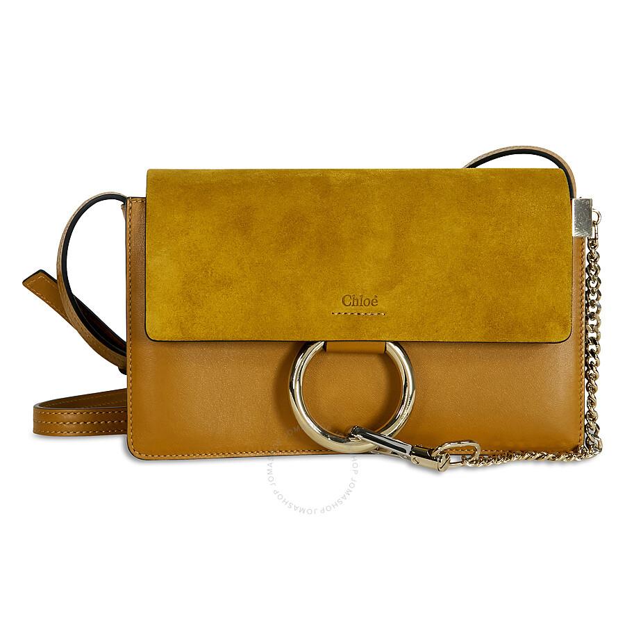Chloe Faye Small Leather Shoulder Bag - Mustard Brown Item No.  3S1127-H2O-B16 5ae699f12e65e