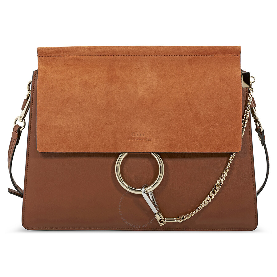 1e23254d Chloe Faye Smooth and Suede Calfskin Shoulder Bag- Tobacco