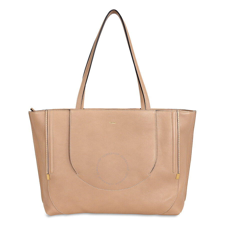 Chloe Isa Leather Tote Bag Biscotti Beige
