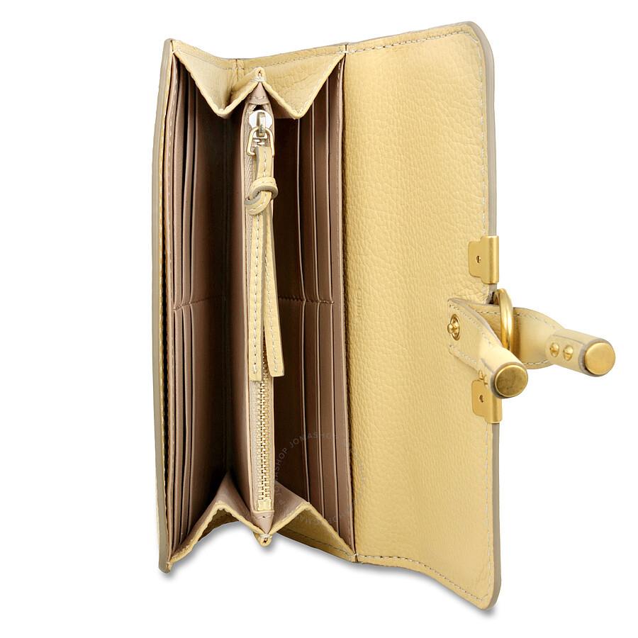choloe bags - Chloe Marcie Continental Leather Wallet - Cork Beige - Jomashop