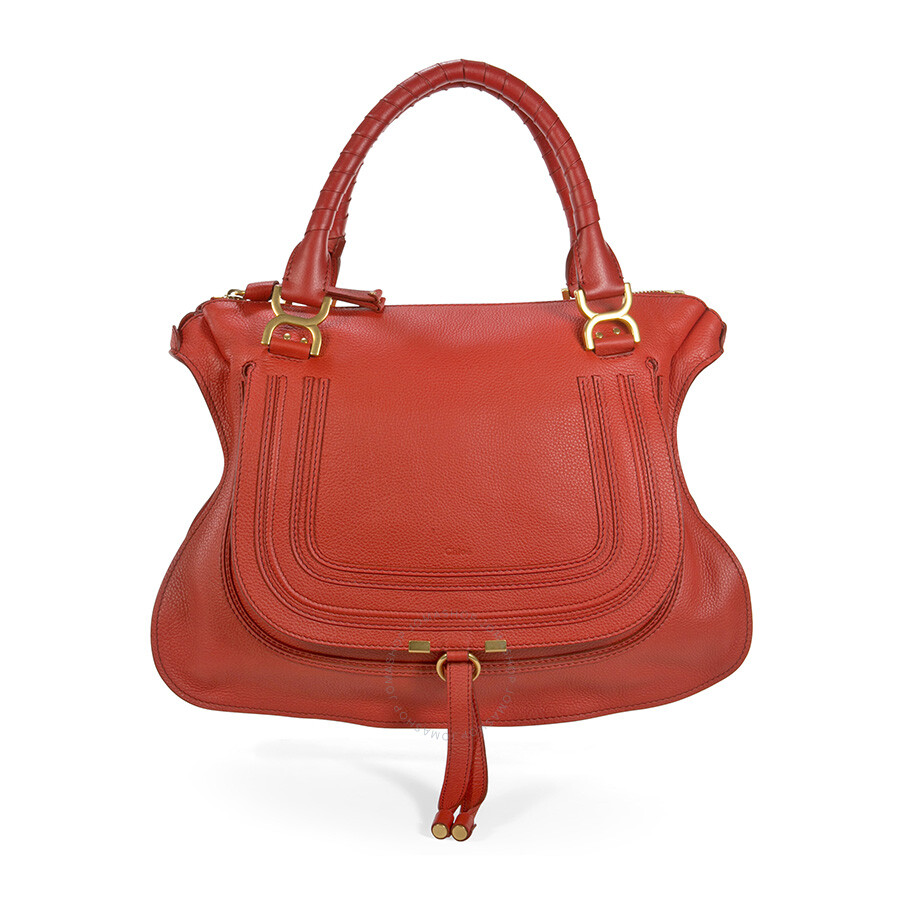 fcc821c41ae7 Chloe Marcie Large Leather Handbag - Plaid Red - Marcie - Chloé ...