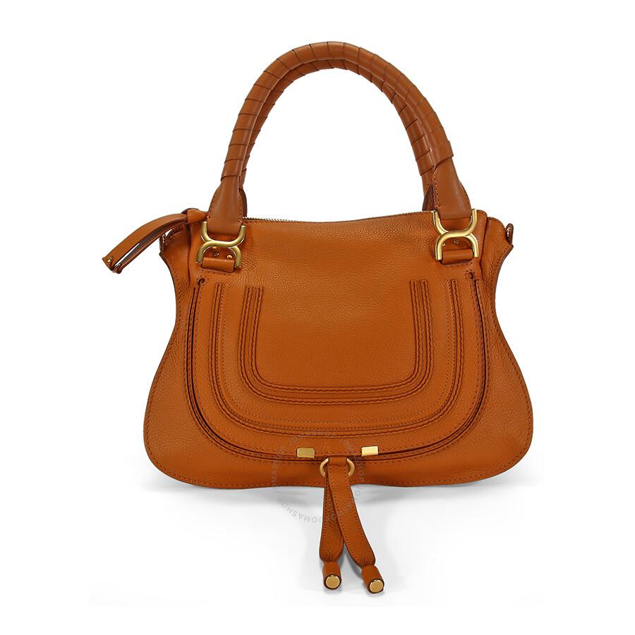 Chloe Marcie Small Leather Satchel Handbag - Light Tan - Chloé ...