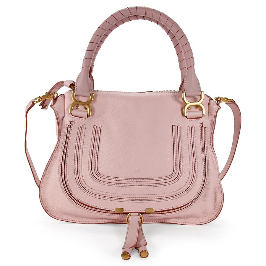 c1abc17962a Chloe Marcie Small Leather Satchel Handbag - Nude Pink Item No.  3S0860-161-43G