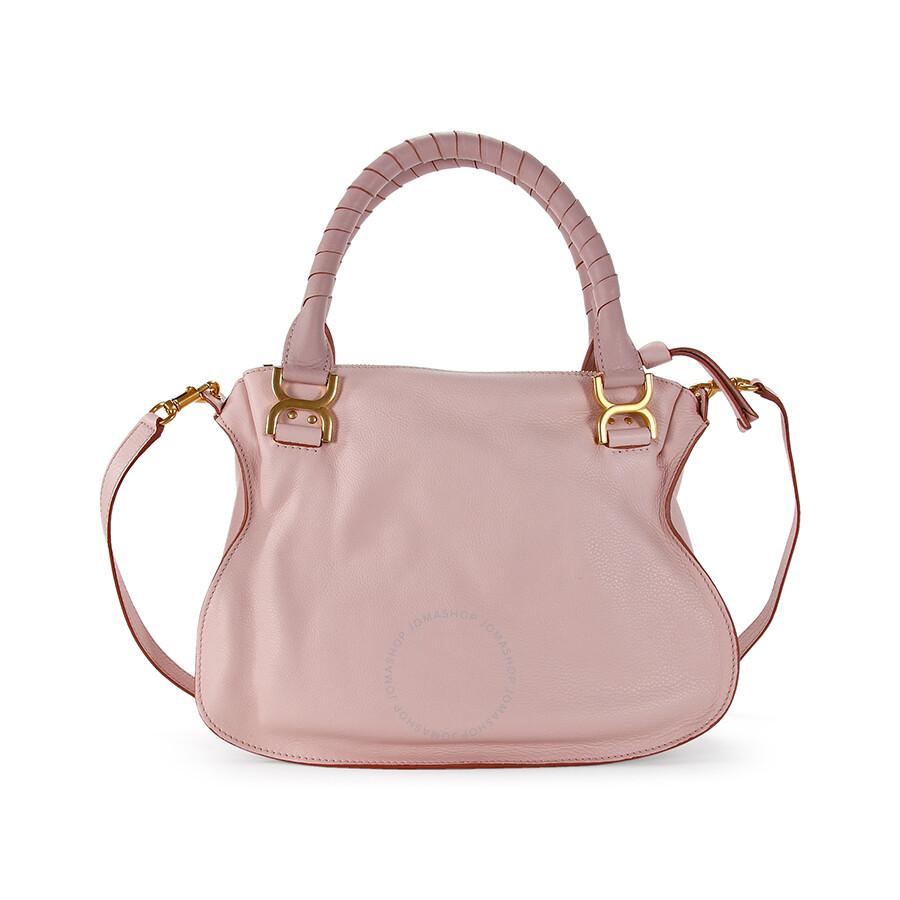 Chloe Marcie Small Leather Satchel Handbag - Nude Pink - Chloé ...