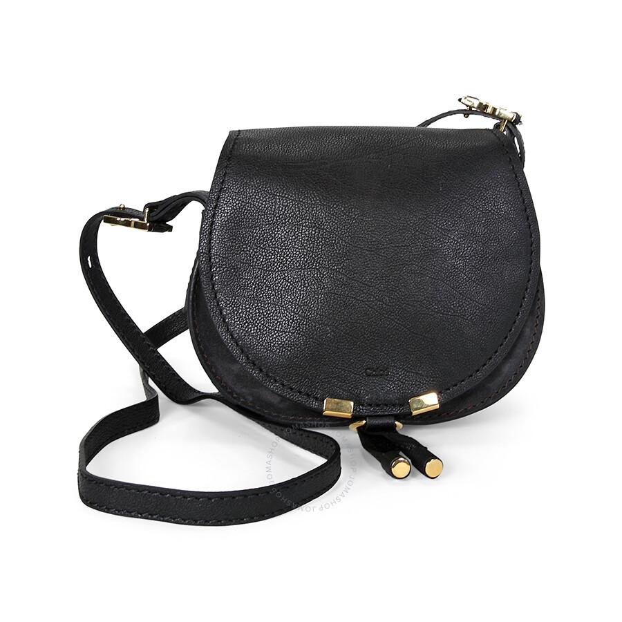 cloe purses - Chloe Marcie Small Saddle Bag - Black - Jomashop