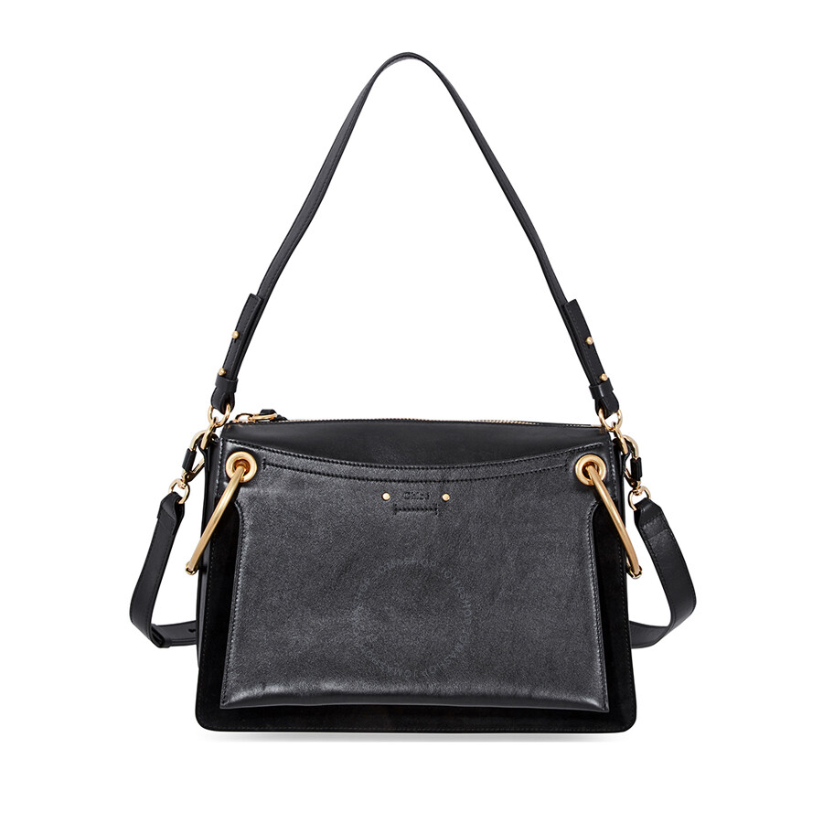 070ca4d6c Chloe Medium Roy Suede Calfskin Shoulder Bag- Black Item No. C18US103A10-001
