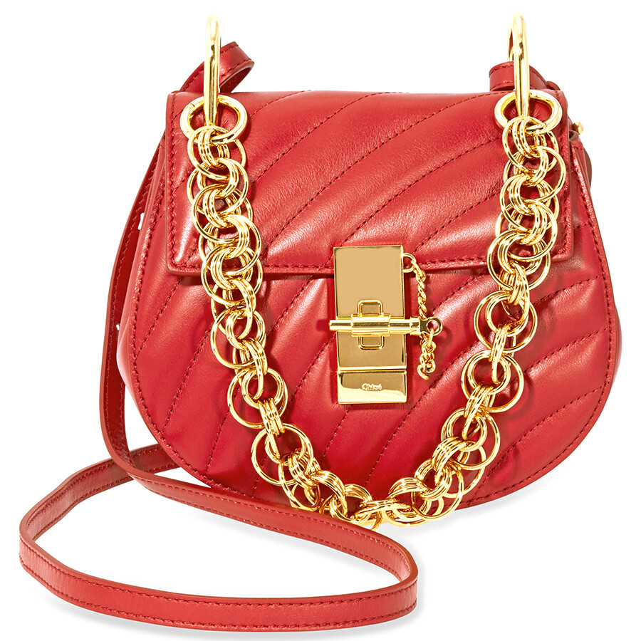 c3c76441a6 Chloe Mini Drew Bijou Quilted Leather Bag- Dahlia Red Item No.  CHC18US107A04630
