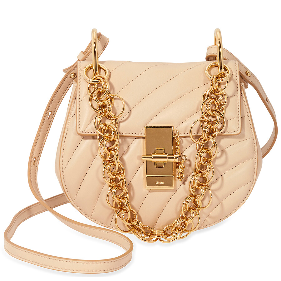 Chloe Mini Drew Bijou Quilted Leather Bag Pearl Beige