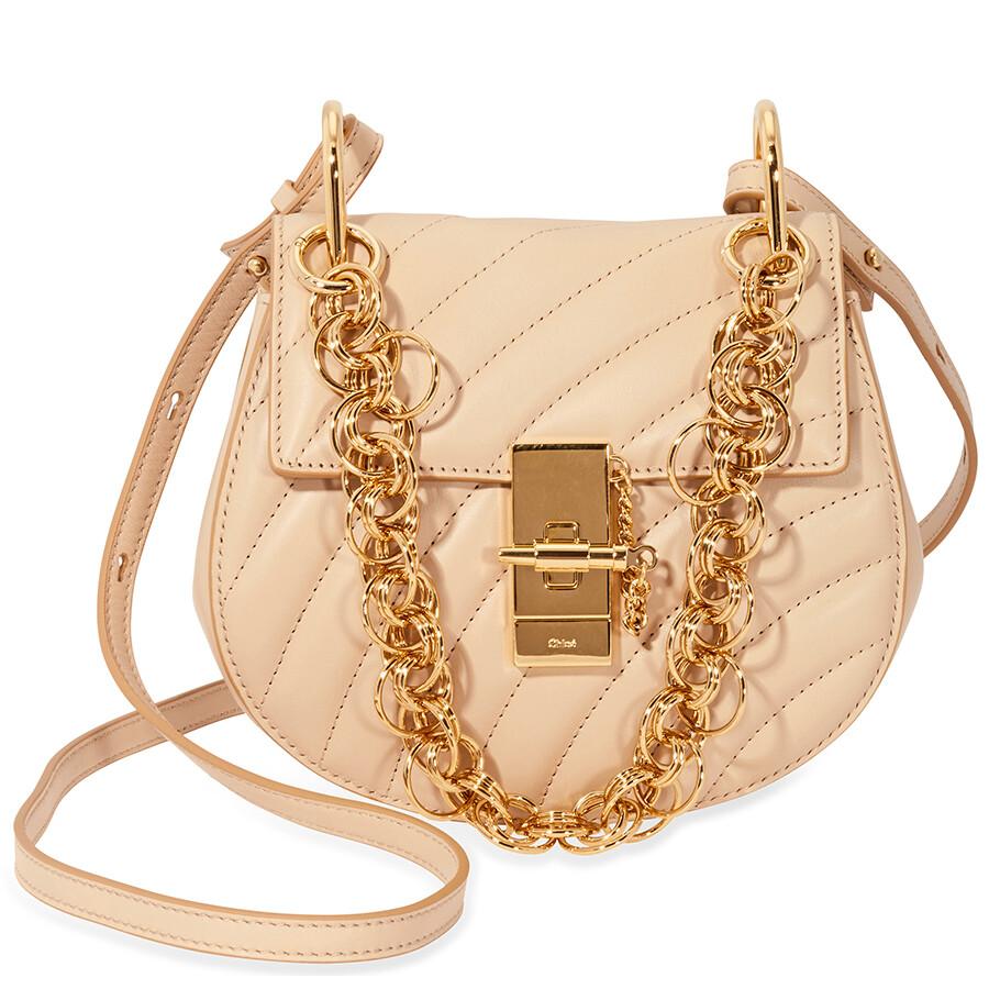 66a3395d24f Chloe Mini Drew Bijou Quilted Leather Bag- Pearl Beige Item No.  CHC18US107A04 278