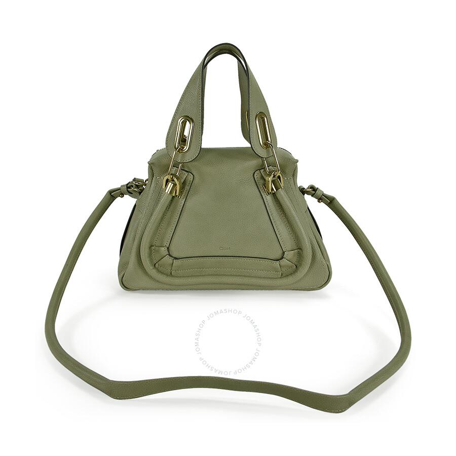 Chloe Paraty Small Leather Satchel Handbag - Baobab Green - Chloé ...