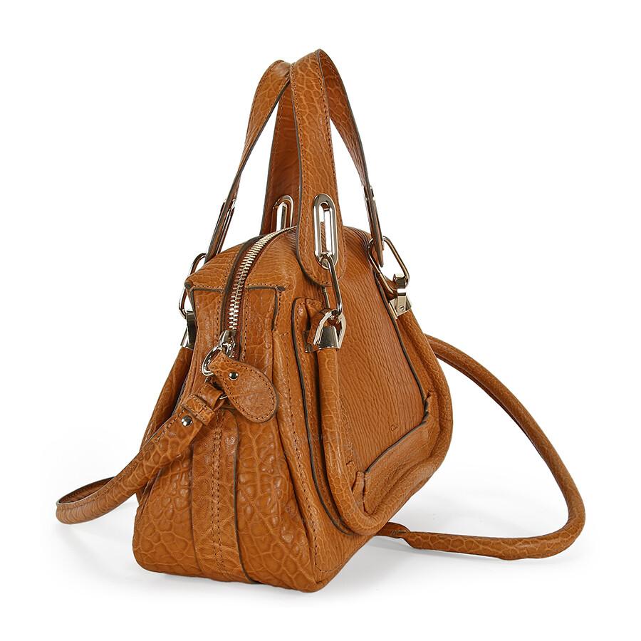 chloe paraty small satchel handbag in brown