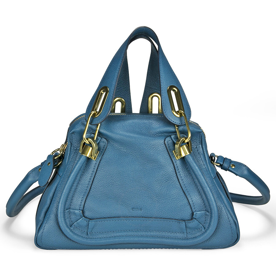 Chloe Paraty Small Leather Satchel Handbag - Caribbean Blue ...
