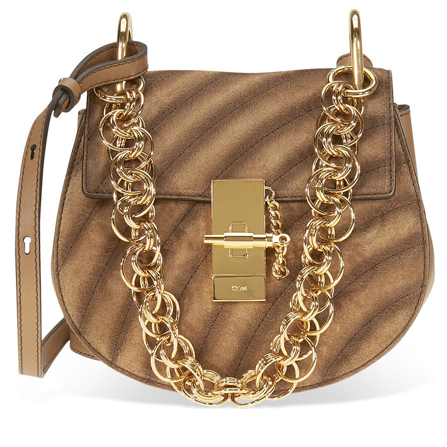 bcba7c6b85be Chloe Small Drew Bijou Suede and Leather Shoulder Bag- Nut Item No.  CHC18WS107A42 20C